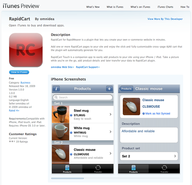 RapidCart Touch App Store page